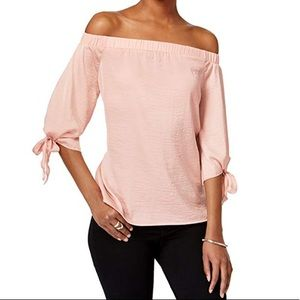 Bar III silky blush off shoulder top M